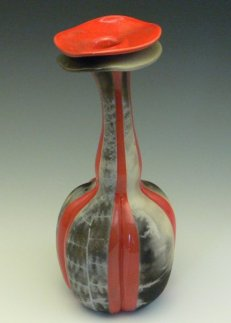 "Pentamerism and Bipinnate Leaf Transfer Study II, 2009 by Lynne Anne Verbeck Low-fire glaze, then barrel fired with ferns 12""H x 3 1/2""W x 3 1/2""D"